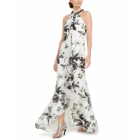 Calvin Klein Women's 'Floral Draped Halter' Long Dress