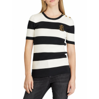 LAUREN Ralph Lauren Women's 'Striped Button-Trim' Sweater