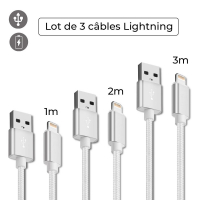 La Coque Francaise 'Lightning Cable' Lightning Cable for iPhone - Silver 3 Pieces