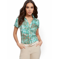 New York & Company Women's 'Leopard Madison Stretch' Short sleeve shirt