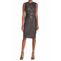 T Tahari Women's 'Metallic Twist Front' Sleeveless Dress