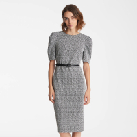 Karl Lagerfeld Women's 'Belted Puff Sleeve' Midi Dress