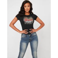 Guess Women's 'Ozzy Sequin Logo' T-Shirt