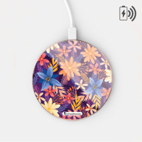 La Coque Francaise 'Fleurs Violettes et Oranges' Induction Charger for Smartphones - Gold, Multicoloured
