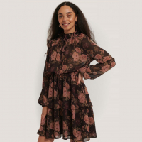NA-KD Boho Women's 'High Frill Neck' Long-Sleeved Dress