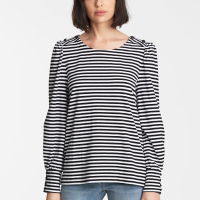 Karl Lagerfeld Women's 'Button Shoulder Stripe' Long sleeve top