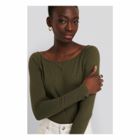 NA-KD Basic Women's 'Wide Boatneck' Long Sleeve top