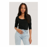 NA-KD Basic Crop top 'Ribbed Long Sleeve' pour Femmes