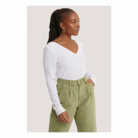 NA-KD Basic Top 'V-Neck Ribbed' pour Femmes