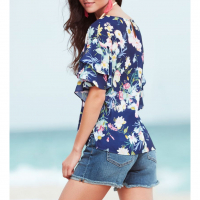 New York & Company Bluse 'Sweet Pea - Ruffled-Sleeve - Floral' für Damen