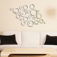Ambiance Stickers Reflective Mirror wall decal Design Rings