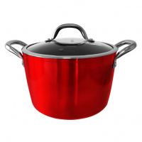 Utilinox 'Chili' Induction + Oven Pan with Glass Lid and Handle'- 24 cm