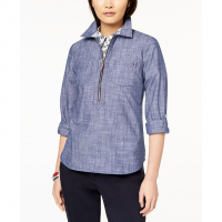 Tommy Hilfiger Women's 'Chambray Half-Zip' Blouse
