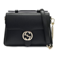 Gucci Interlocking Leather Bag With Chain