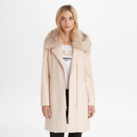 Karl Lagerfeld Manteau 'Zip Wool With Faux Fur Trim' pour femmes