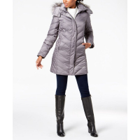 Kenneth Cole 'Hooded Faux-Fur-Trim Down Chevron' Jacke für Damen