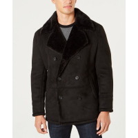 Kenneth Cole 'Faux Sherpa Collar Double-Breasted Pea' Mantel für Herren