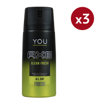 Axe 'You Clean Fresh' Deodorant Spray - 150 ml - Pack of 3