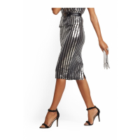 New York & Company 'Sequin Stripe Pencil' Rock für Damen