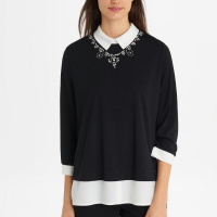 Karl Lagerfeld Top 'Jeweled Neck Twofer' pour femmes