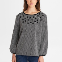 Karl Lagerfeld Top 'Bishop Sleeve With Flower Applique' pour femmes
