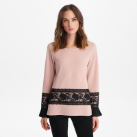 Karl Lagerfeld Women's 'Knit Top With Lace And Pleats' Blouse