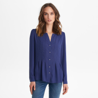 Karl Lagerfeld Blouse 'Pleated  With Pearl Button Front'
