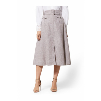 New York & Company 'Brown Belted Cargo - City Stretch Linen Flex' Rock für Damen