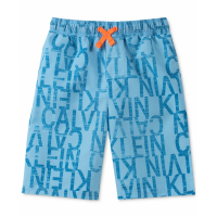 Calvin Klein Big Boy's 'Distressed Logo Volley' Swimming Trunks