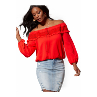 New York & Company 'Red Crochet-Trim Peasant - Lily &Cali' Bluse für Damen
