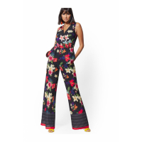 New York & Company 'Black Floral &Stripe V-Neck Wrap' Jumpsuit für Damen