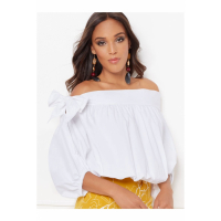 New York & Company 'Isabelle White Off-The-Shoulder Poplin' Bluse für Damen