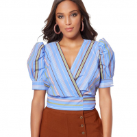 New York & Company 'Trista Stripe Wrap' Bluse für Damen