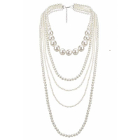 Liv Oliver Women's 'Silver Multi Row Pearl' Necklace