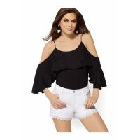 New York & Company 'Ruffled Cold Shoulder' Top für Damen