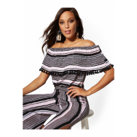 New York & Company 'Stripe Tassel-Accent Off-The-Shoulder' Top für Damen