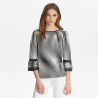 Karl Lagerfeld Women's 'Stripe trumpet sleeve knit' Blouse