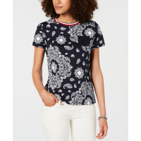 Tommy Hilfiger Top 'Cotton Printed Striped-Neck' pour Femmes