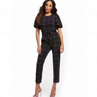 Women's 'Madie Puff Sleeve Rainbow Plaid' Jumpsuit