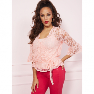 Women's 'Lace Wrap Peplum' Blouse