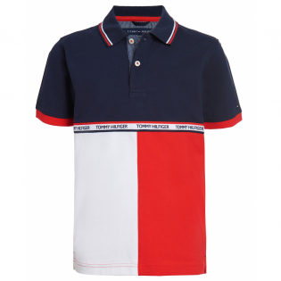 Big Boy's 'Stretch Colorblocked Logo Tape' Polo Shirt