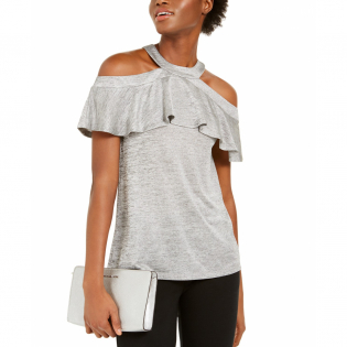 Women's 'Cold-Shoulder Flounce' Halterneck Top