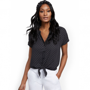 Women's 'Tie Front' Short sleeve Blouse