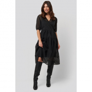 Women's 'Short Puff Sleeve Wrap' Midi Dress