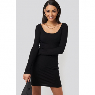 Women's 'Deep Round Neck Ribbed' Dress
