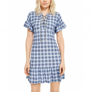Women's 'Chain Lace-Up Plaid' Short-Sleeved Dress