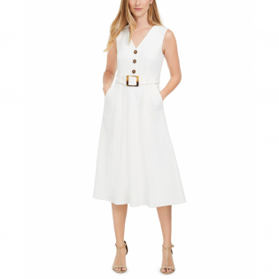 Women's 'Button-Trim Belted' Fit & Flare Dress