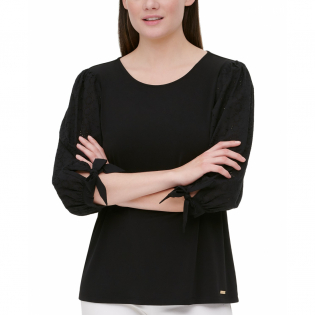 Women's 'Eyelet-Sleeve' Top