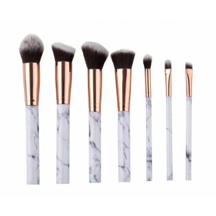 'Marble Effect' Make-up Brush Set, Pouch - 7 Units