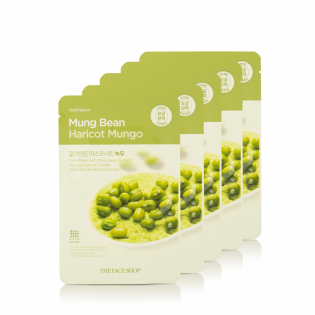 Real Nature Mung Bean Gesichtsmaske - Pore Detox - Pack von 5